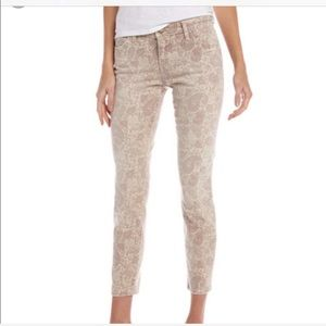 Current Elliott Stiletto khaki paisley crop pants